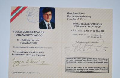 Acreditación parlamentaria de Gregorio Ordóñez