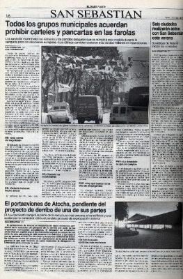 San Sebastián, libre de publicidad electoral en el mobiliario urbano