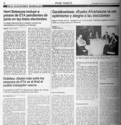 Ordóñez acusa de «cinismo» a HB por incluir a etarras en sus listas