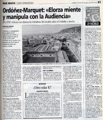 Ordóñez acusa a Elorza de manipular con el traslado del Palacio de Justicia