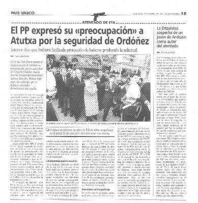 Partido Popular: primero el miedo por Ordóñez, luego la orfandad tras su asesinato