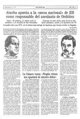 Atutxa apunta a la dirección de HB como responsable del crimen de Ordóñez