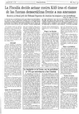La Fiscalía investiga a KAS tras calificar el asesinato de Ordóñez del «hundimiento del buque insignia del fascismo español»