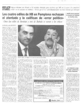 Los concejales de HB de Pamplona califican el asesinato de Ordóñez de «error político»
