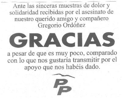 El PP agradece las muestras de apoyo tras el asesinato Ordóñez