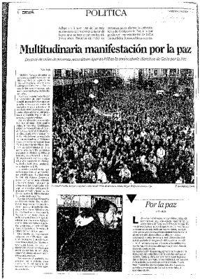 Asistencia masiva a la manifestación de Gesto por la Paz en Bilbao