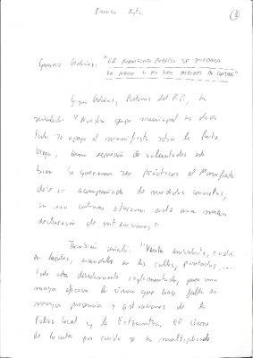 Borrador de nota de prensa en la que Ordóñez apela a ser «nacionalista donostiarra»
