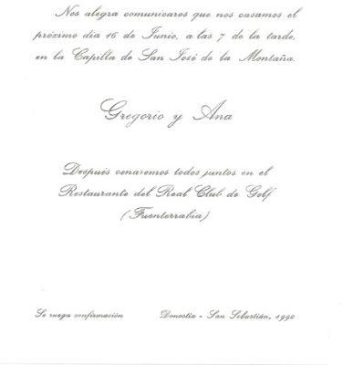 Invitación de boda de Gregorio Ordóñez y Ana Iríbar