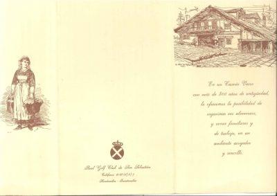Menú de la boda de Gregorio Ordóñez y Ana Iríbar