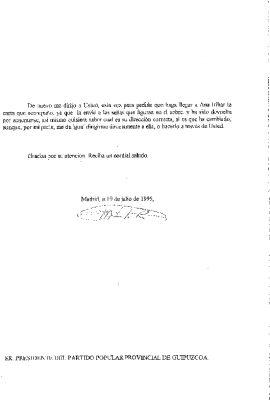 Carta de condolencia de un militante del PP