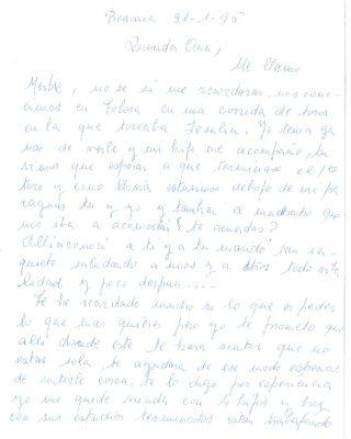 Una carta de aliento de una vecina de Beasáin