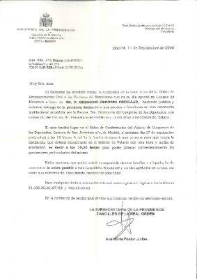 Invitación a la entrega de la Real Orden del Reconocimiento Civil a las Víctimas del Terrorismo