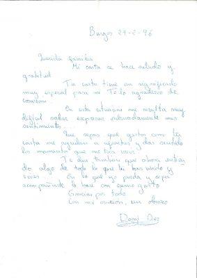 Carta de la mujer de José Antonio Ortega Lara