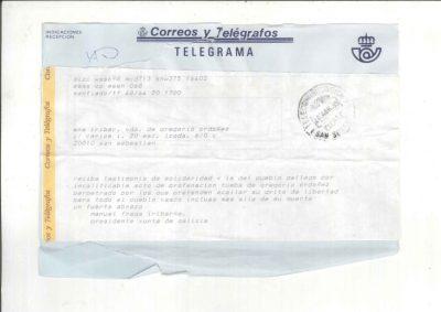 Telegrama de Manuel Fraga tras la profanación de la tumba de Ordóñez