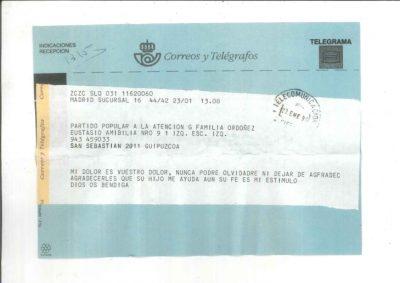 Telegrama de solidaridad un año después del crimen