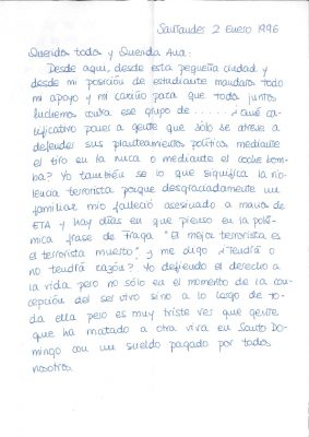 Carta emocionada de una joven militante del PP