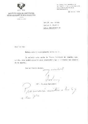 Una nota de Antonio Beristáin a la viuda de Ordóñez