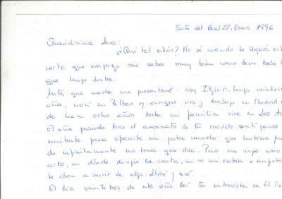 Carta de una joven bilbaína a Ana Iríbar