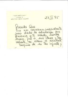 Carta de consuelo de una viuda a Ana Iríbar