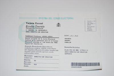 Tarjeta censal de Ordóñez
