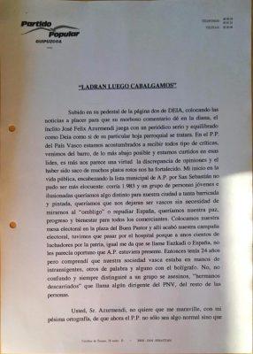 Ordóñez sale al paso de las críticas de José Félix Azurmendi en Deia
