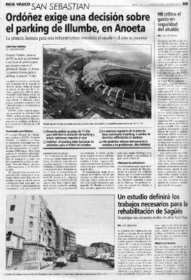 Ordóñez da un ultimátum a sus socios por el aparcamiento de Ilumbe