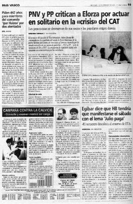 Ordóñez exige a Elorza más dureza con Herri Batasuna