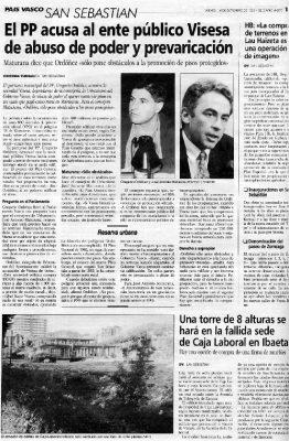 Ordóñez acusa a una empresa del Gobierno vasco de abuso de poder y prevaricación