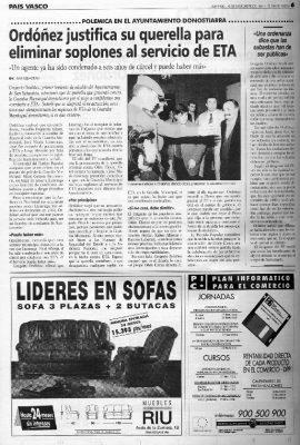 Ordóñez justifica la querella para eliminar a soplones de ETA