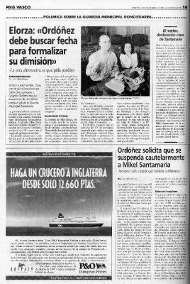 Ordóñez pide la suspensión cautelar del jefe de la Guardia Municipal