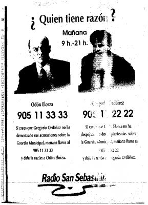 Elorza vs Ordóñez, una encuesta radiofónica sobre el caso de la Guardia Municipal