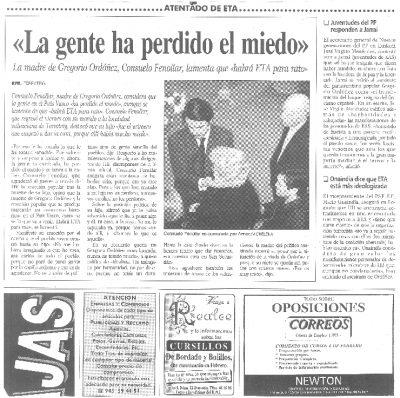 """Consuelo Fenollar, madre de Gregorio Ordóñez: """"Mi hijo nunca ha tenido miedo"""""""