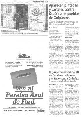 """Aparecen pintadas de """"Ordóñez asesino"""" en pueblos de Guipúzcoa"""
