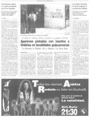 """Pintadas de """"Ordóñez carcelero"""" en Rentería"""