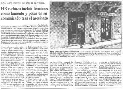 "HB evita ""lamentarse"" por el asesinato de Ordóñez"