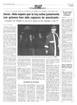 Aznar pide que se aplique la ley sobre los asesinos