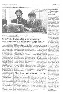 El PP pide calma tras la conmoción por el asesinato de Ordóñez