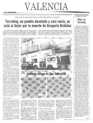 El pueblo valenciano de Terrateig llora a Ordóñez