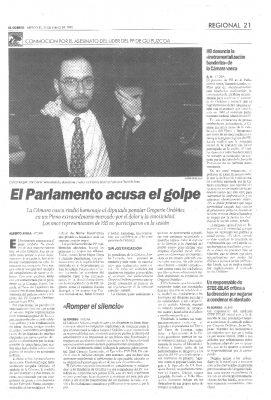 Un Parlamento sin HB condena el asesinato de Ordóñez