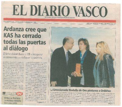 Medalla de Oro póstuma para Ordóñez