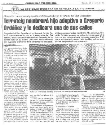 Terrateig homenajeará a Gregorio Ordóñez nombrándolo hijo adoptivo