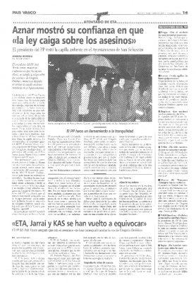 Aznar confía en que la ley caiga sobre los asesinos de Ordóñez