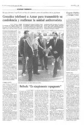 González y Aznar se reafirman en la unidad frente a ETA