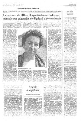 La portavoz de HB apela a la conciencia para condenar el asesinato de Ordóñez