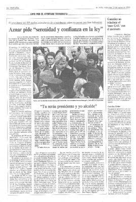 Aznar pide calma en su visita a San Sebastián