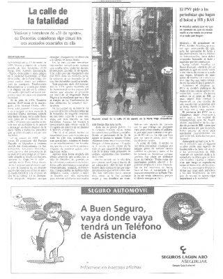 Tres asesinatos de ETA perpetrados en la misma calle
