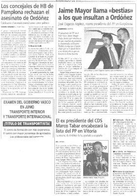 Mayor Oreja carga contra los autores de las pintadas insultantes de Gregorio Ordóñez