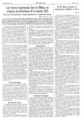 """Gesto por la Paz denuncia la """"vocación dictadora"""" de ETA y llama a manifestarse contra el crimen de Ordóñez"""
