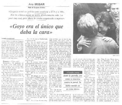 """Ana Iríbar: """"Gregorio entró en política para combatir a ETA y a HB"""""""