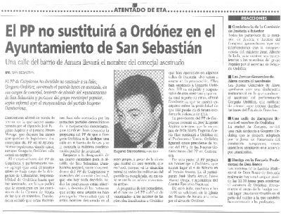 El PP decide dejar vacantes los cargos de Ordóñez en el Ayuntamiento